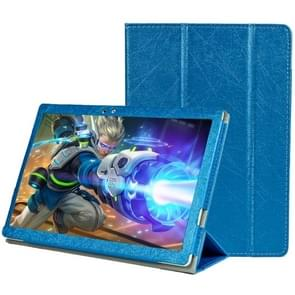 Teclast T10 Steel Wire Texture Horizontal Flip Leather Case with Three-folding Holder & Sleep / Wake up Function(Blue)