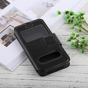 For iPhone, Galaxy, Huawei And Other 5.0-5.5 Inch Mobile Phones, Solid Color Horizontal Flip Universal Leather Case with Call Display ID & Holder & Magnetic Buckle(Black)