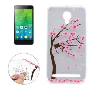 For Lenovo Vibe C2 Cherry Tree Pattern Transparent TPU Soft Protective Back Cover Case
