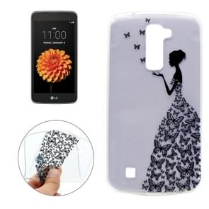 For LG K7 Butterfly and Girl Pattern Transparent Soft TPU Protective Back Cover Case