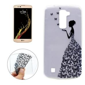 For LG K10 Butterfly and Girl Pattern Transparent Soft TPU Protective Back Cover Case