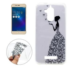 For Asus Zenfone 3 Max / ZC520TL Butterfly and Girl Pattern Transparent Soft TPU Protective Back Cover Case