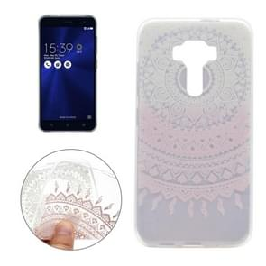 For Asus ZenFone 3 / ZE520KL Pink Flower Pattern Transparent Soft TPU Protective Back Cover Case