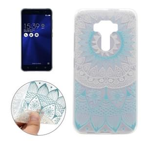 For Asus ZenFone 3 / ZE520KL Blue Flower Pattern Transparent Soft TPU Protective Back Cover Case