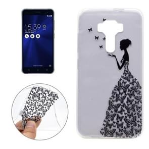 For Asus ZenFone 3 / ZE520KL Butterfly and Girl Pattern Transparent Soft TPU Protective Back Cover Case