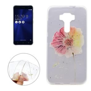 For Asus ZenFone 3 / ZE520KL Flower Pattern Transparent Soft TPU Protective Back Cover Case