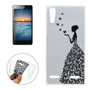 For Lenovo K3 Butterfly and Girl Pattern Transparent Soft TPU Protective Back Cover Case