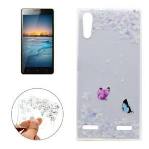 For Lenovo K3 Variegated Butterflies Pattern Transparent Soft TPU Protective Back Cover Case
