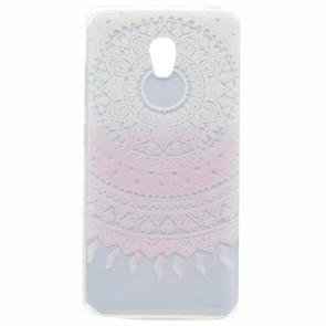 For Lenovo VIBE P1 Pink Flower Pattern Transparent Soft TPU Protective Back Cover Case