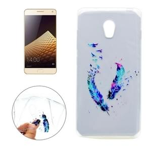 For Lenovo VIBE P1 Feather Pattern Transparent Soft TPU Protective Back Cover Case