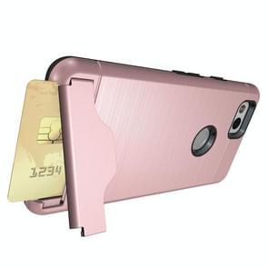 For Google Pixel 2 Brushed Texture Separable PC + TPU Protective Combination Back Case with Holder & Card Slot(Rose Gold)