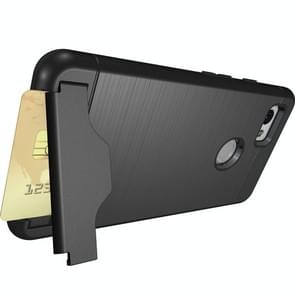 For Google Pixel 2 XL Brushed Texture Separable PC + TPU Protective Combination Back Case with Holder & Card Slot (Black)