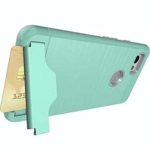 For Google Pixel 2 XL Brushed Texture Separable PC + TPU Protective Combination Back Case with Holder & Card Slot (Green)