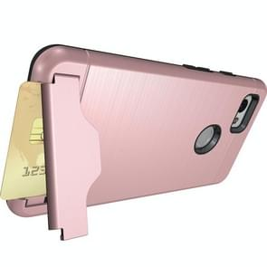 For Google Pixel 2 XL Brushed Texture Separable PC + TPU Protective Combination Back Case with Holder & Card Slot (Rose Gold)
