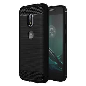 For Motorola Moto G4 Play Brushed Texture Fiber TPU Rugged Armor Protective Case(Black)