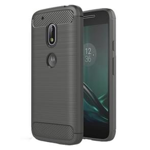For Motorola Moto G4 Play Brushed Texture Fiber TPU Rugged Armor Protective Case(Grey)
