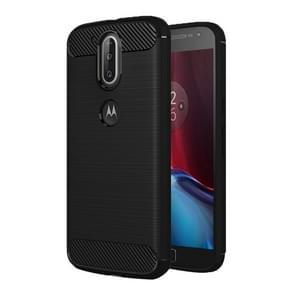 For Motorola Moto G Plus (4th Gen.) Brushed Texture Fiber TPU Rugged Armor Protective Case(Black)