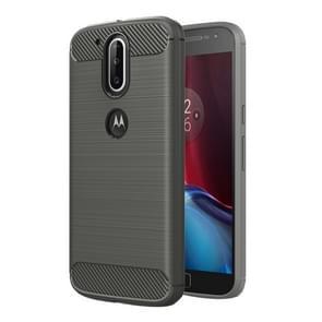 For Motorola Moto G Plus (4th Gen.) Brushed Texture Fiber TPU Rugged Armor Protective Case(Grey)