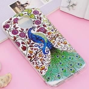 For Motorola Moto G5S Plus Noctilucent IMD Peacock Pattern Soft TPU Back Case Protector Cover