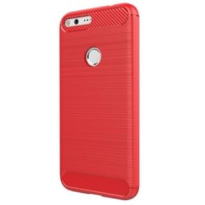 For Google Pixel XL Brushed Carbon Fiber Texture Shockproof TPU Protective Case(Red)