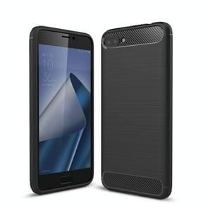 For Asus Zenfone 4 Max Plus ZC554KL Brushed Texture Carbon Fiber Shockproof TPU Rugged Armor Protective Case (Black)
