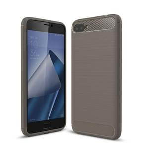For Asus Zenfone 4 Max Plus ZC554KL Brushed Texture Carbon Fiber Shockproof TPU Rugged Armor Protective Case (Grey)