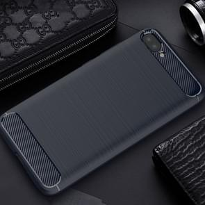 For Asus Zenfone 4 Max Plus ZC554KL Brushed Texture Carbon Fiber Shockproof TPU Rugged Armor Protective Case (Navy Blue)