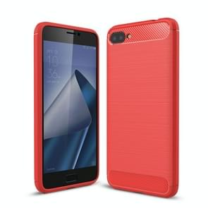 For Asus Zenfone 4 Max Plus ZC554KL Brushed Texture Carbon Fiber Shockproof TPU Rugged Armor Protective Case (Red)
