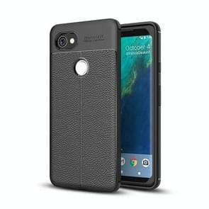 For Google Pixel 2 XL Litchi Texture Full Coverage TPU Protective Back Cover Case (Black)