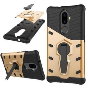 Lenovo K8 Plus PC + TPU Dropproof Sniper Hybrid Protective Back Cover Case with 360 Degree Rotation Holder (Gold)