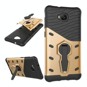 For Asus Zenfone 4 Selfie (ZD553KL) PC + TPU Dropproof Sniper Hybrid Protective Back Cover Case with 360 Degree Rotation Holder (Gold)