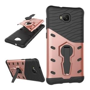 For Asus Zenfone 4 Selfie (ZD553KL) PC + TPU Dropproof Sniper Hybrid Protective Back Cover Case with 360 Degree Rotation Holder (Rose Gold)