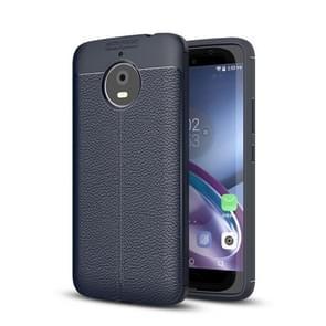 For Motorola Moto E4 Plus Litchi Texture Design Soft TPU Anti-skip Protective Cover Back Case(navy)