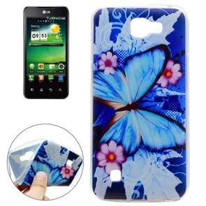 For LG K4 Blue Butterfly and Flower Pattern TPU Soft Protective Back Cover Case