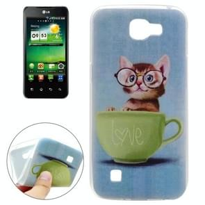 For LG K4 Glasses Cat Pattern TPU Soft Protective Back Cover Case