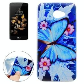 For LG K5 Blue Butterfly and Flower Pattern TPU Soft Protective Back Cover Case