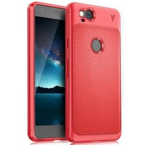 Lenuo for Google Pixel 2 Litchi Texture Full Coverage PU Leather + TPU Protective Back Cover Case(Red)