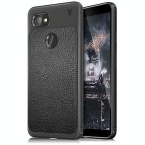 Lenuo for Google Pixel 2 XL Litchi Texture Full Coverage PU Leather + TPU Protective Back Cover Case(Black)