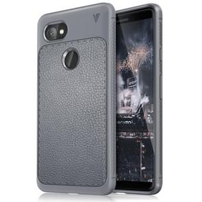 Lenuo for Google Pixel 2 XL Litchi Texture Full Coverage PU Leather + TPU Protective Back Cover Case(Grey)