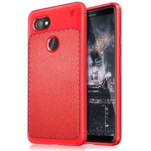 Lenuo for Google Pixel 2 XL Litchi Texture Full Coverage PU Leather + TPU Protective Back Cover Case(Red)