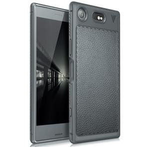 Lenuo for Sony Xperia XZ1 Litchi Texture Full Coverage PU Leather + TPU Protective Back Cover Soft Case(Grey)
