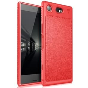 Lenuo for Sony Xperia XZ1 Litchi Texture Full Coverage PU Leather + TPU Protective Back Cover Soft Case(Red)