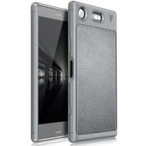 Lenuo for Sony Xperia XZ1 Compact Litchi Texture Full Coverage PU Leather + TPU Protective Back Cover Soft Case(Grey)