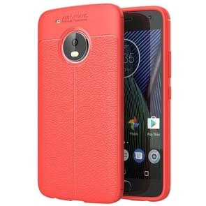 For Motorola Moto G5 Plus Litchi Texture TPU Protective Back Cover Case (Red)