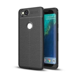 For Google Pixel 2 Litchi Texture Full Coverage TPU Protective Back Cover Case (Black)
