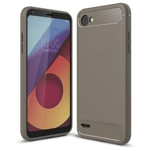 For LG Q6 Brushed Texture Carbon Fiber Shockproof TPU Rugged Armor Protective Case (Grey)