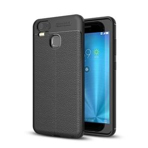 For Asus Zenfone 3 Zoom (ZE553KL) Litchi Texture Soft TPU Anti-skip Protective Cover Back Case(Black)