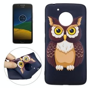 For Motorola Moto G (5th Gen.) Owl Pattern Stereo Relief TPU Protective Back Cover