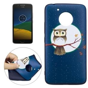 For Motorola Moto G (5th Gen.) Owl Under the Moon Pattern Stereo Relief TPU Protective Back Cover