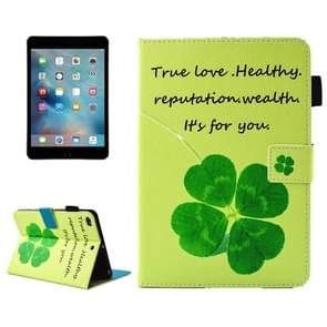 For iPad mini 4 / 3 / 2 / 1 Lucky Clove  Pattern Horizontal Flip Leather Case with Holder & Wallet & Card Slots & Sleep / Wake-up Function & Pen Slot